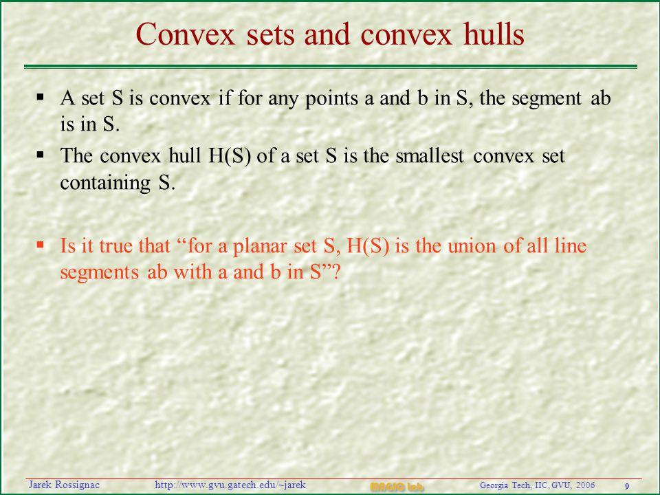 9 Georgia Tech, IIC, GVU, 2006 MAGIC Lab http://www.gvu.gatech.edu/~jarekJarek Rossignac Convex sets and convex hulls  A set S is convex if for any p