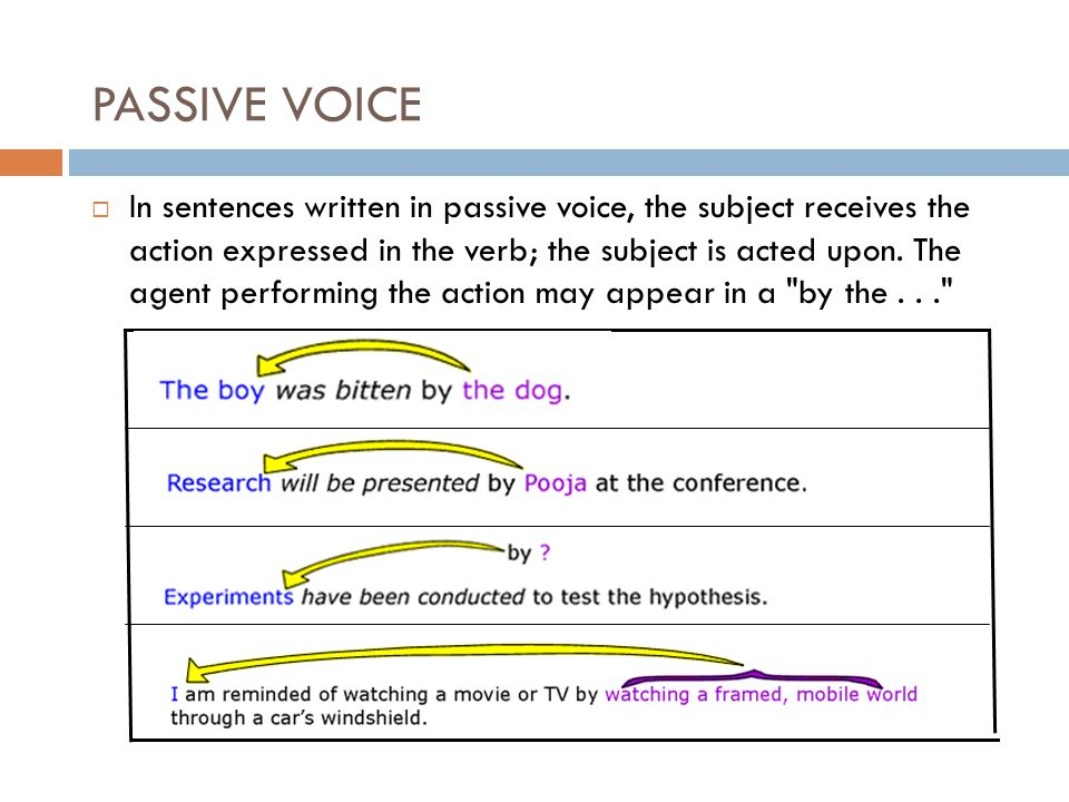 PASSIVE VOICE  In sentences written in passive voice, the subject receives the action expressed in the verb; the subject is acted upon.