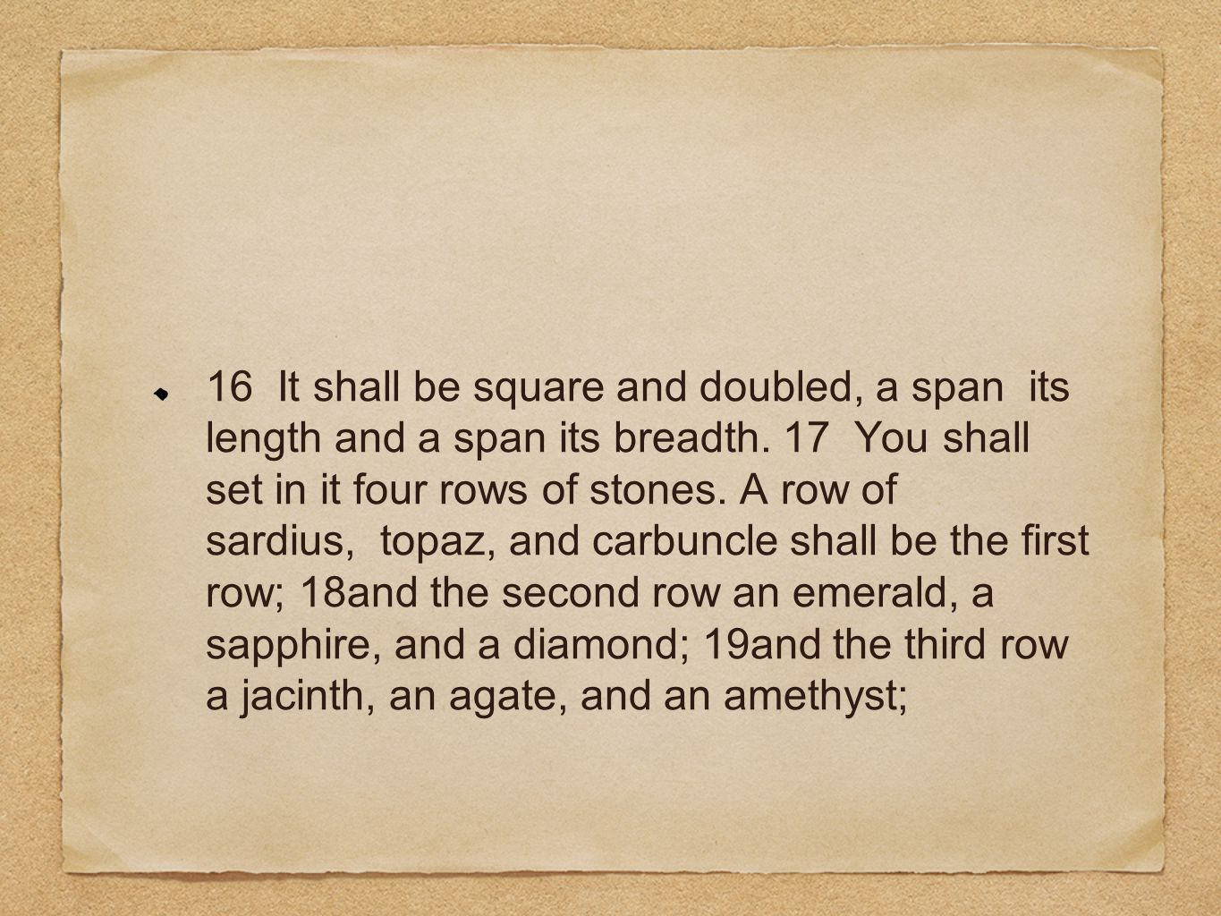 16 It shall be square and doubled, a span its length and a span its breadth.