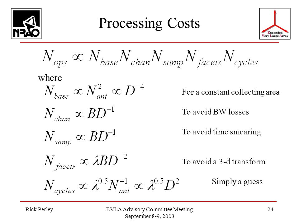 Rick PerleyEVLA Advisory Committee Meeting September 8-9, 2003 24 Processing Costs where For a constant collecting area To avoid BW losses To avoid time smearing To avoid a 3-d transform Simply a guess