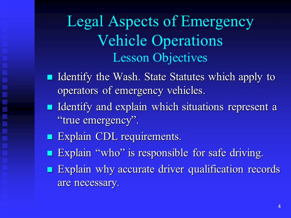 3 Lesson Topics 1. Legal Aspects 2. Concepts of Defensive Driving 3.