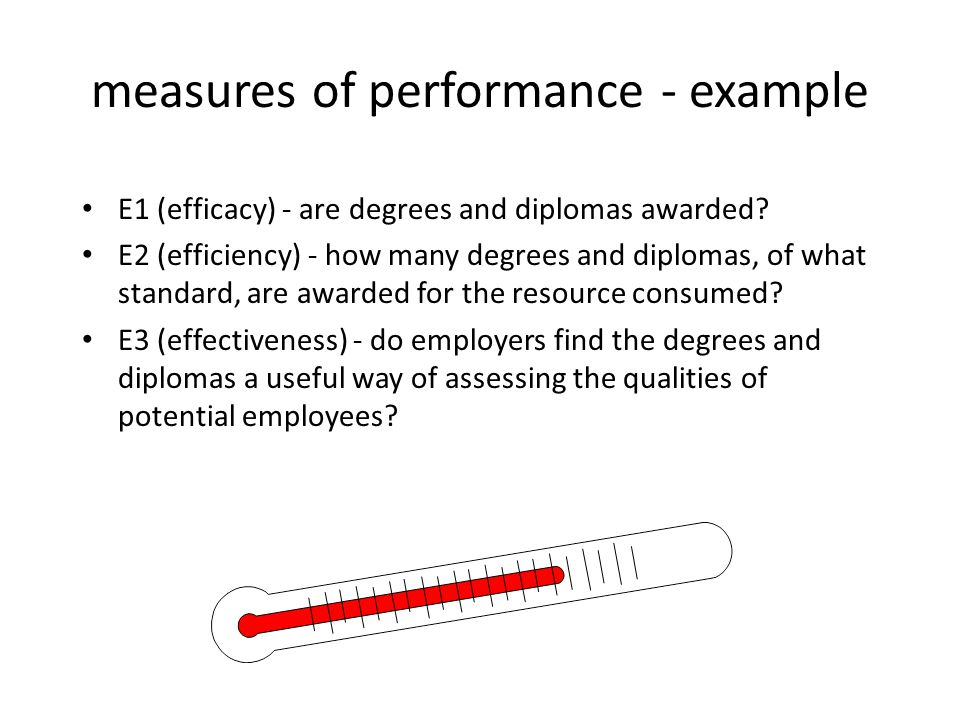 measures of performance - example E1 (efficacy) - are degrees and diplomas awarded? E2 (efficiency) - how many degrees and diplomas, of what standard,