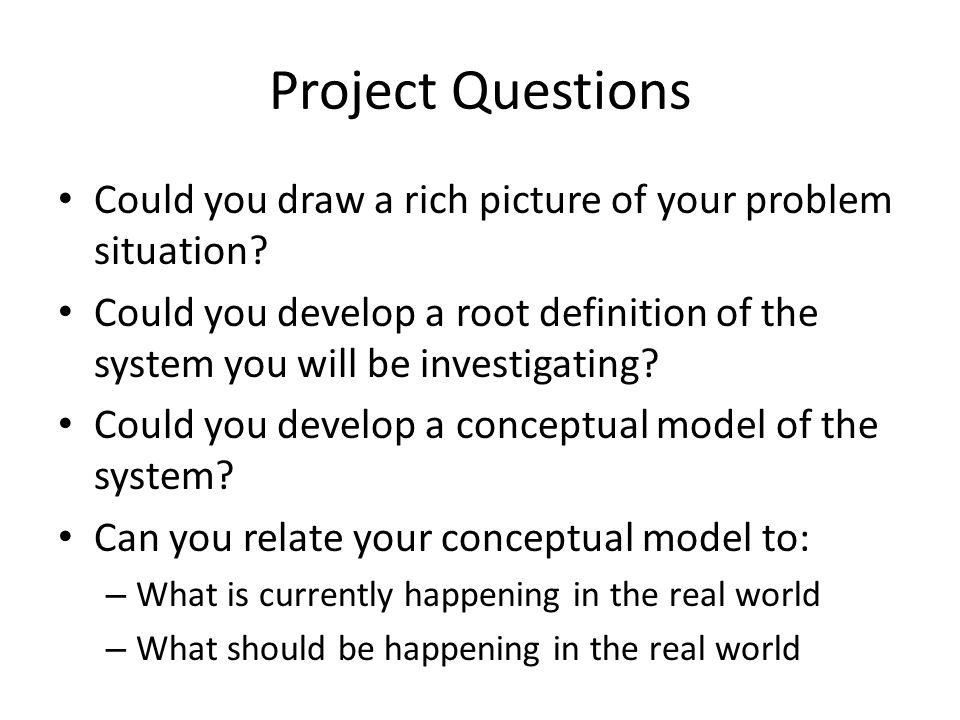 Project Questions Could you draw a rich picture of your problem situation? Could you develop a root definition of the system you will be investigating