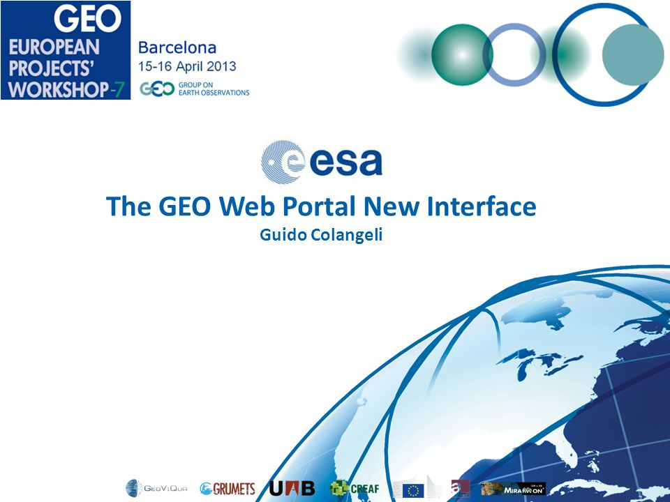 The GEO Web Portal New Interface Guido Colangeli