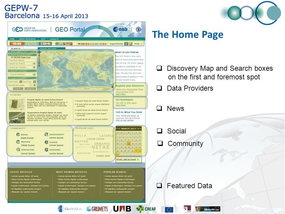  Discovery Map and Search boxes on the first and foremost spot  Data Providers  News  Community  Social  Featured Data The Home Page