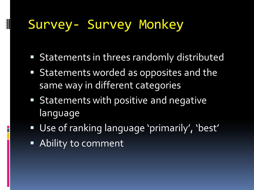 Survey- Survey Monkey  Statements in threes randomly distributed  Statements worded as opposites and the same way in different categories  Statements with positive and negative language  Use of ranking language 'primarily', 'best'  Ability to comment