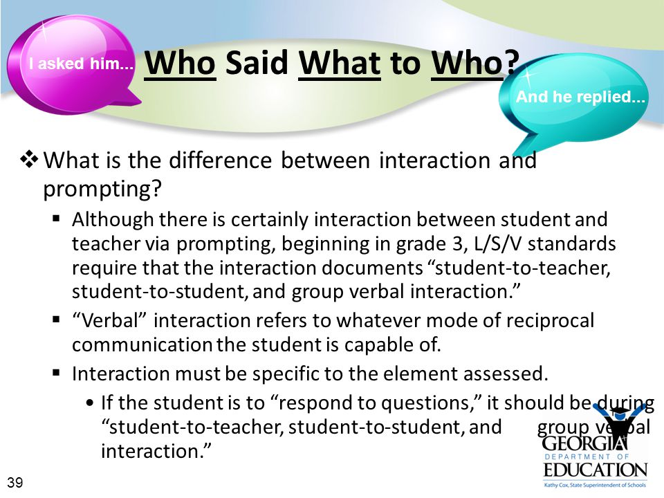39 Who Said What to Who.  What is the difference between interaction and prompting.