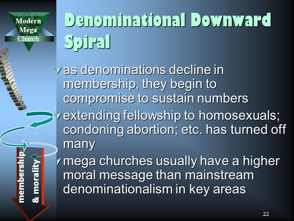 Modern Mega Church 22 Denominational Downward Spiral  as denominations decline in membership, they begin to compromise to sustain numbers  extending fellowship to homosexuals; condoning abortion; etc.