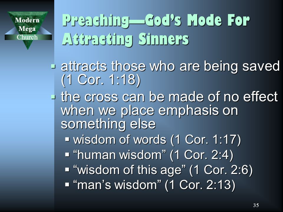 Modern Mega Church 35 Preaching—God's Mode For Attracting Sinners  attracts those who are being saved (1 Cor.