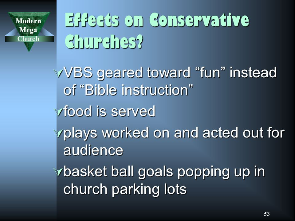 Modern Mega Church 53 Effects on Conservative Churches.