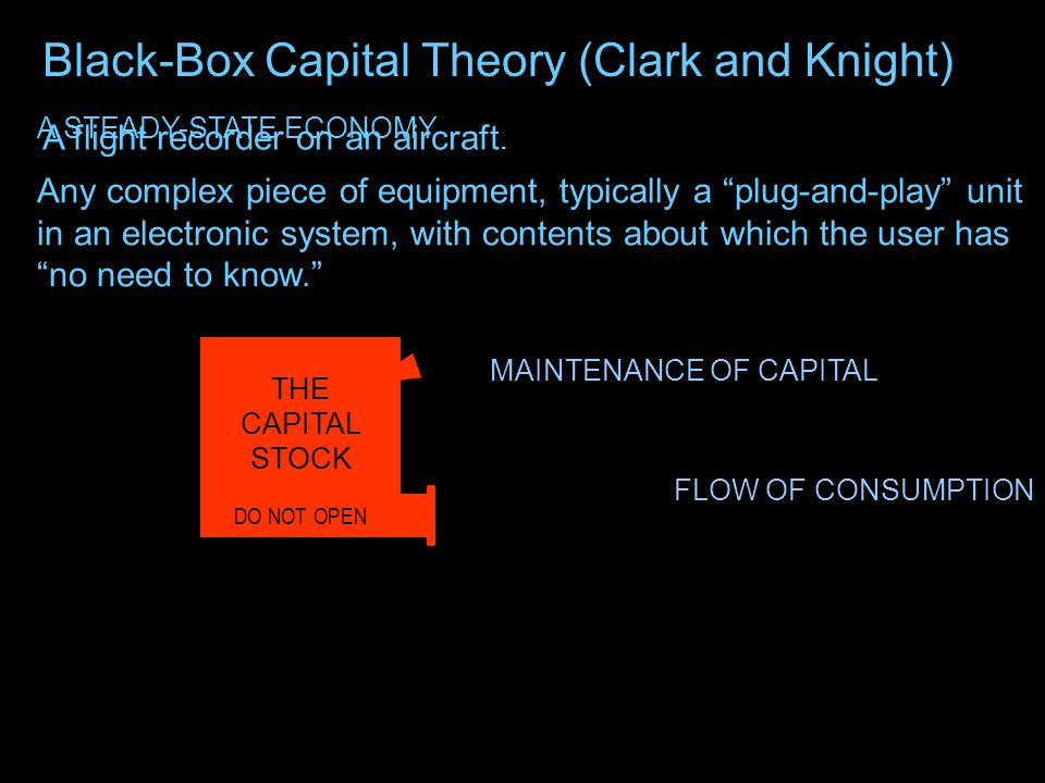 Black-Box Capital Theory (Clark and Knight) THE CAPITAL STOCK DO NOT OPEN A flight recorder on an aircraft. Any complex piece of equipment, typically