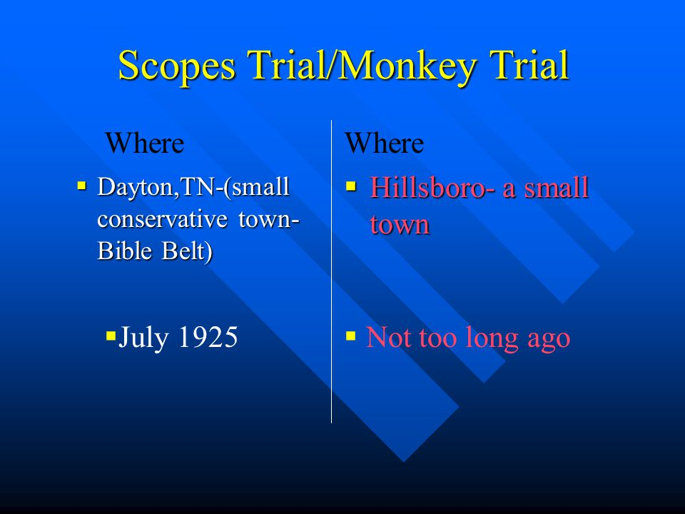 Scopes Trial/Monkey Trial  Dayton,TN-(small conservative town- Bible Belt) Where  Hillsboro- a small town  Not too long ago  July 1925 Where