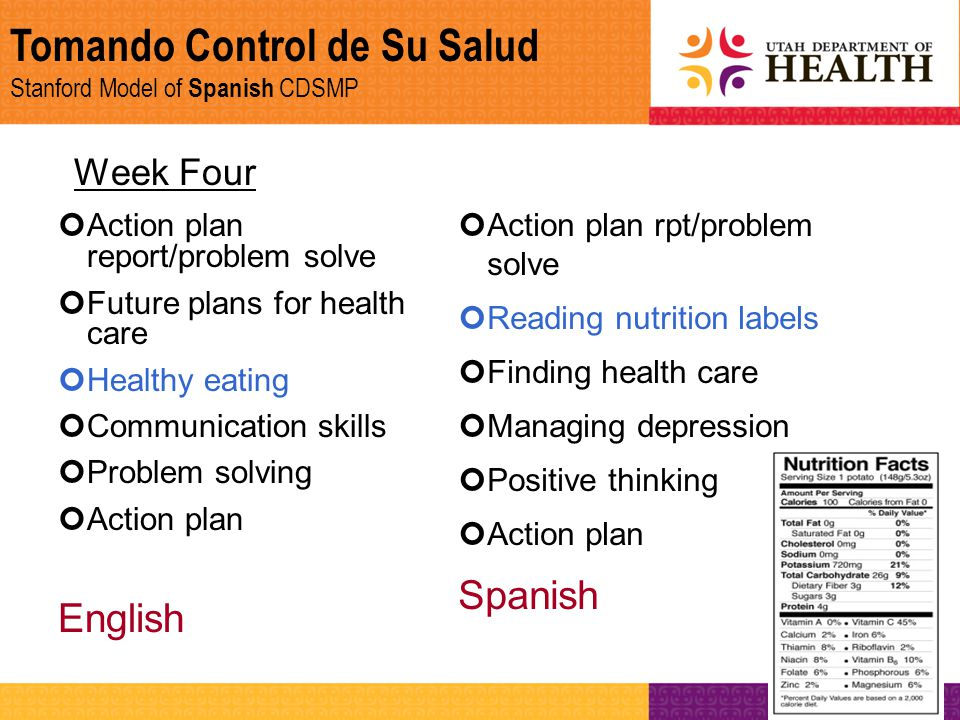 Tomando Control de Su Salud Stanford Model of Spanish CDSMP Week Four Action plan report/problem solve Future plans for health care Healthy eating Com