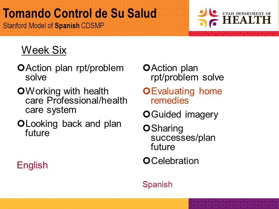 Tomando Control de Su Salud Stanford Model of Spanish CDSMP Week Six Action plan rpt/problem solve Working with health care Professional/health care s