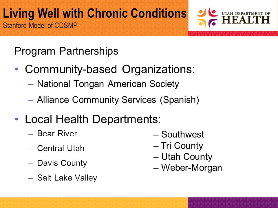Living Well with Chronic Conditions Stanford Model of CDSMP Program Partnerships Community-based Organizations: –National Tongan American Society –All