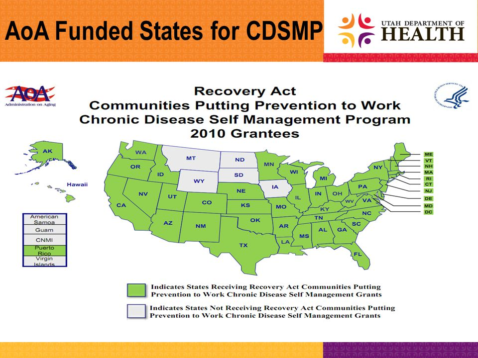 Living Well with Chronic Conditions Stanford Model of CDSMP Workshop Resources Resource book: Living a Healthy Life with Chronic Conditions CD: Time for Healing Weekly action plans and feedback Groups are small: 10-15 people –Share information, interactive learning activities, problem-solving, decision-making, social support for change