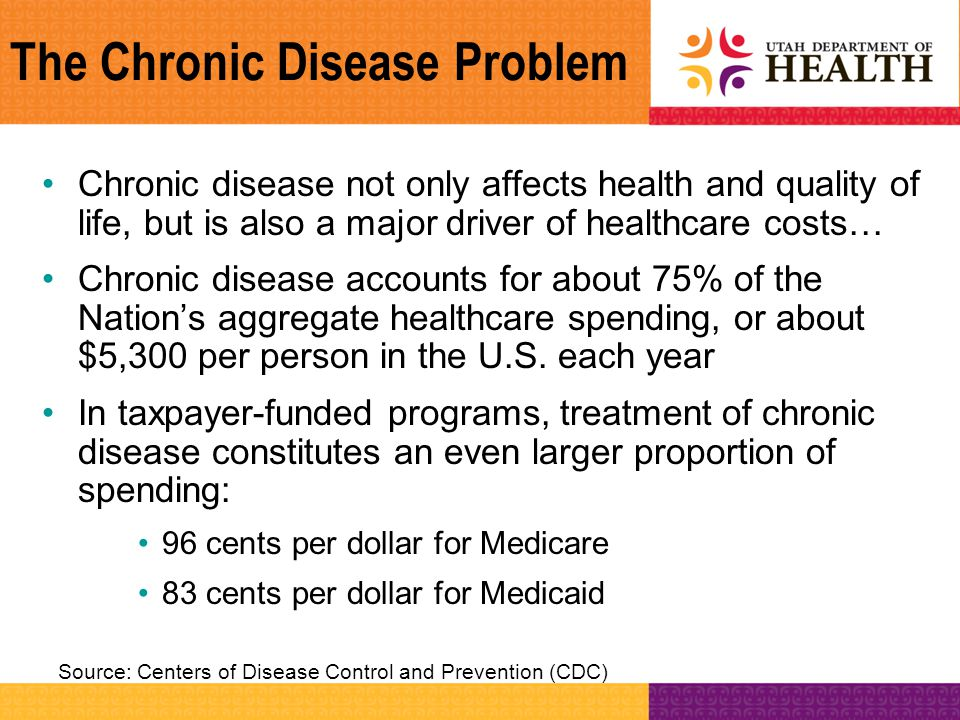 The Chronic Disease Problem Chronic disease not only affects health and quality of life, but is also a major driver of healthcare costs… Chronic disea