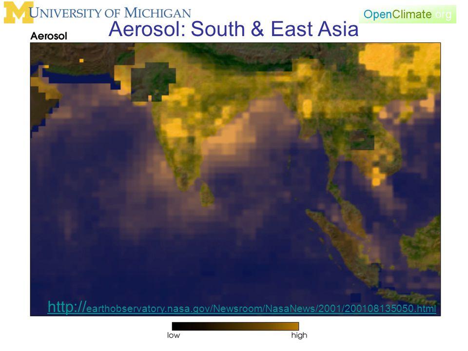 Aerosol: South & East Asia http:// earthobservatory.nasa.gov/Newsroom/NasaNews/2001/200108135050.html