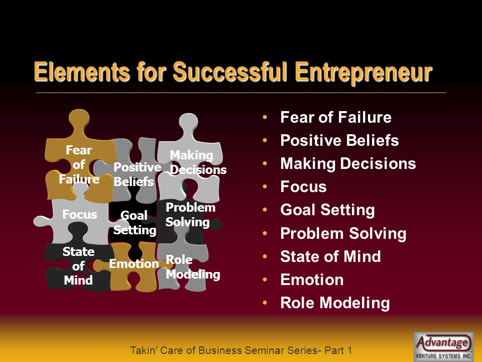 Takin Care of Business Seminar Series- Part 1 Portrait of an Entrepreneur .