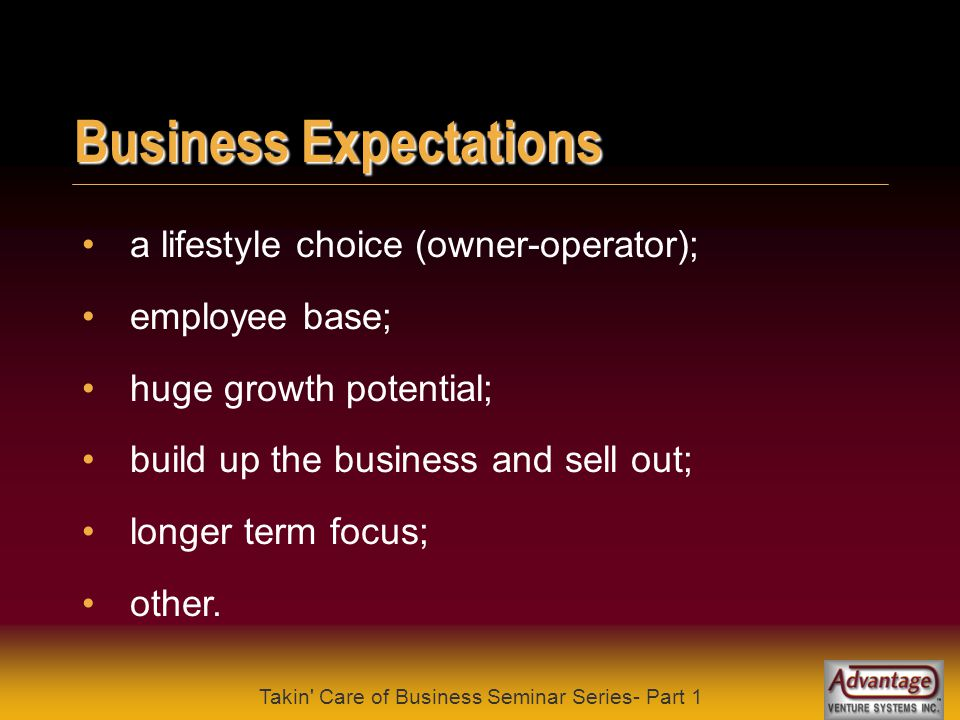 Takin' Care of Business Seminar Series- Part 1 Self Evaluation why do I want to start my own business ? what are my business skills ? what is the stat