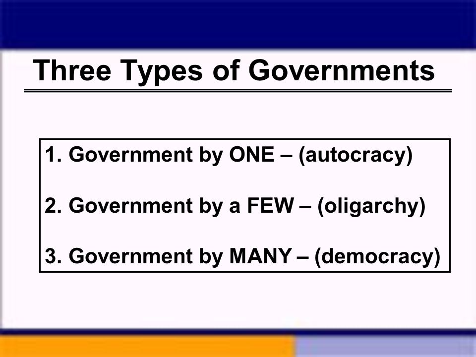 Three Types of Governments 1. Government by ONE – (autocracy) 2. Government by a FEW – (oligarchy) 3. Government by MANY – (democracy)