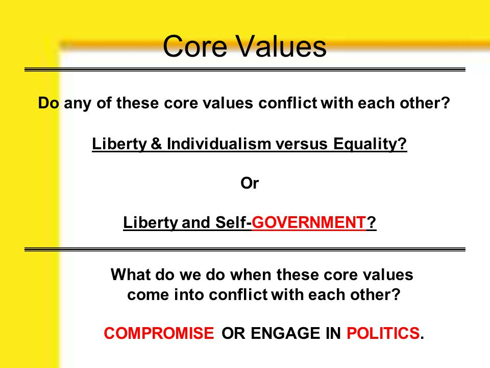 Core Values Do any of these core values conflict with each other? Liberty & Individualism versus Equality? Or Liberty and Self-GOVERNMENT? What do we