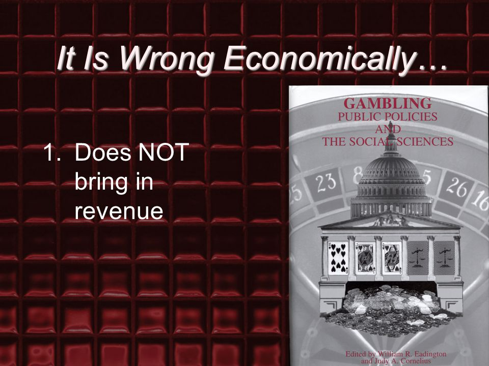 It Is Wrong Economically… 1.Does NOT bring in revenue