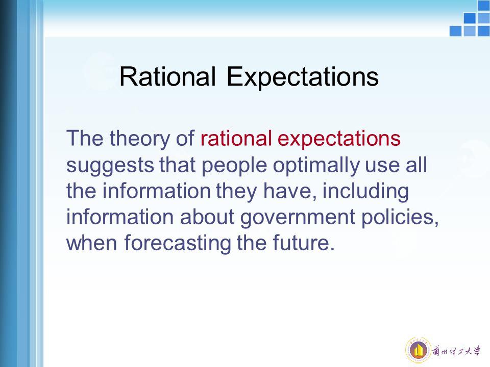 Rational Expectations The theory of rational expectations suggests that people optimally use all the information they have, including information abou