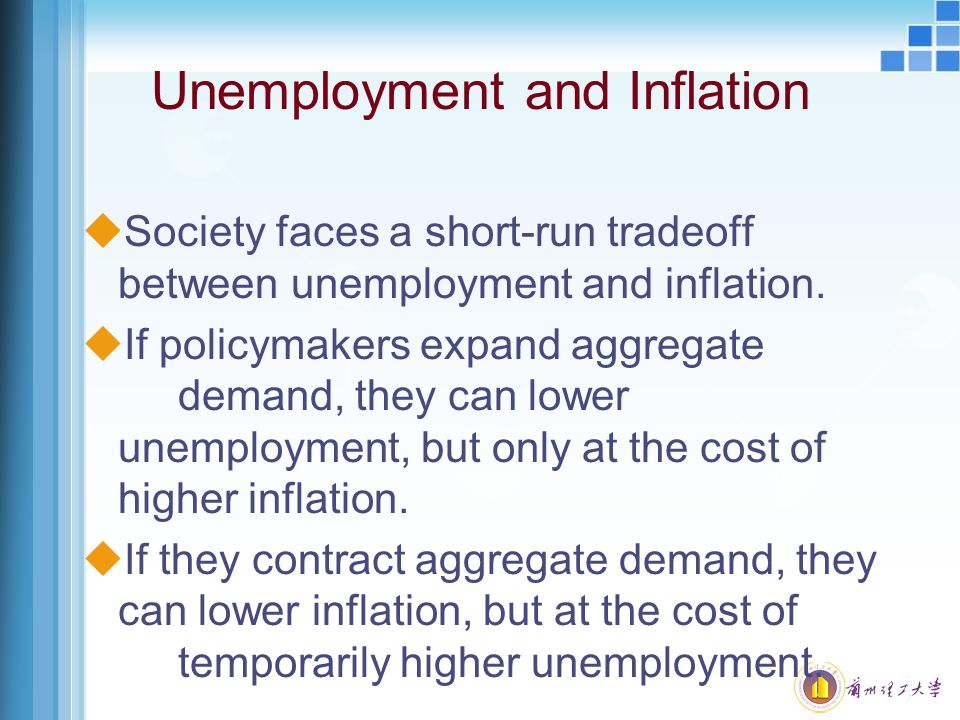 Unemployment and Inflation uSociety faces a short-run tradeoff between unemployment and inflation. uIf policymakers expand aggregate demand, they can
