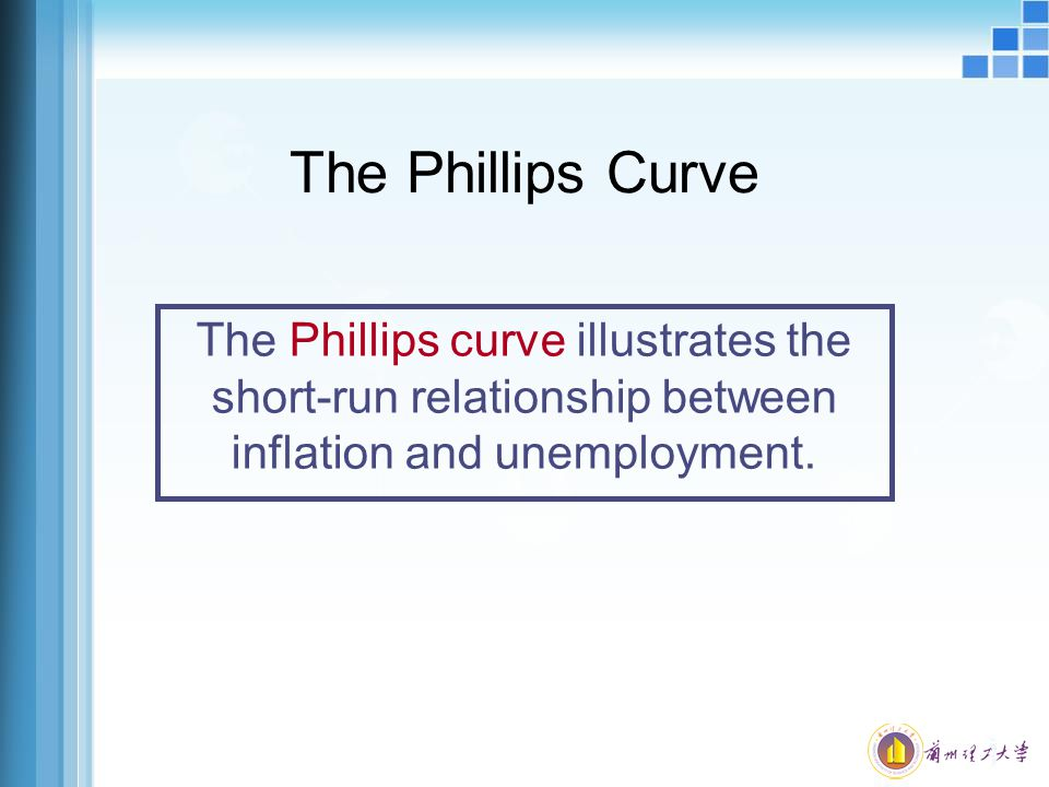 The Phillips Curve The Phillips curve illustrates the short-run relationship between inflation and unemployment.