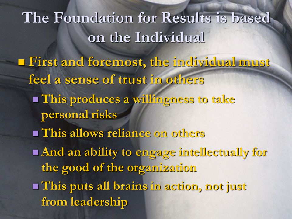 5 5 The Foundation for Results is based on the Individual First and foremost, the individual must feel a sense of trust in others First and foremost, the individual must feel a sense of trust in others This produces a willingness to take personal risks This produces a willingness to take personal risks This allows reliance on others This allows reliance on others And an ability to engage intellectually for the good of the organization And an ability to engage intellectually for the good of the organization This puts all brains in action, not just from leadership This puts all brains in action, not just from leadership
