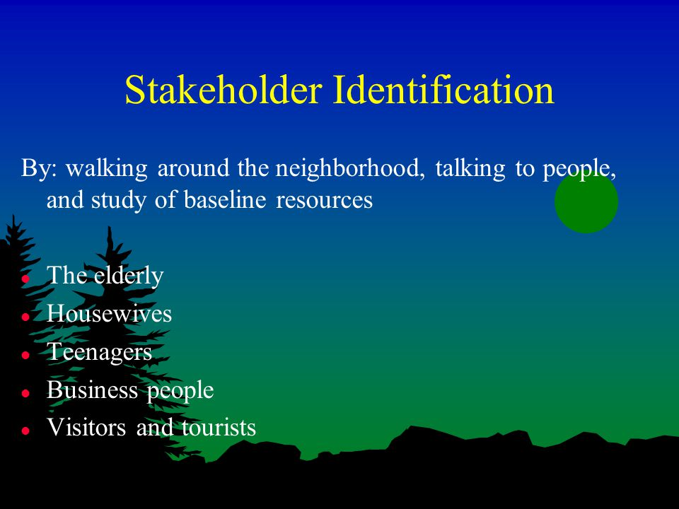 Stakeholder Identification By: walking around the neighborhood, talking to people, and study of baseline resources l The elderly l Housewives l Teenagers l Business people l Visitors and tourists