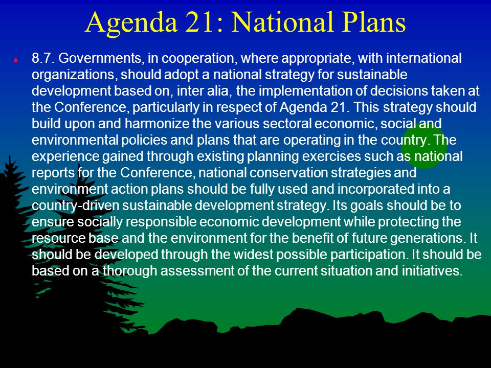 Agenda 21: National Plans l 8.7. Governments, in cooperation, where appropriate, with international organizations, should adopt a national strategy fo