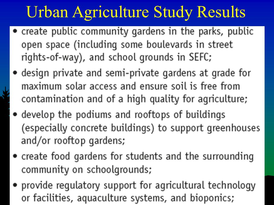 Urban Agriculture Study Results