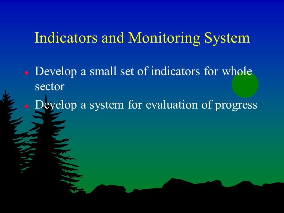 Indicators and Monitoring System l Develop a small set of indicators for whole sector l Develop a system for evaluation of progress