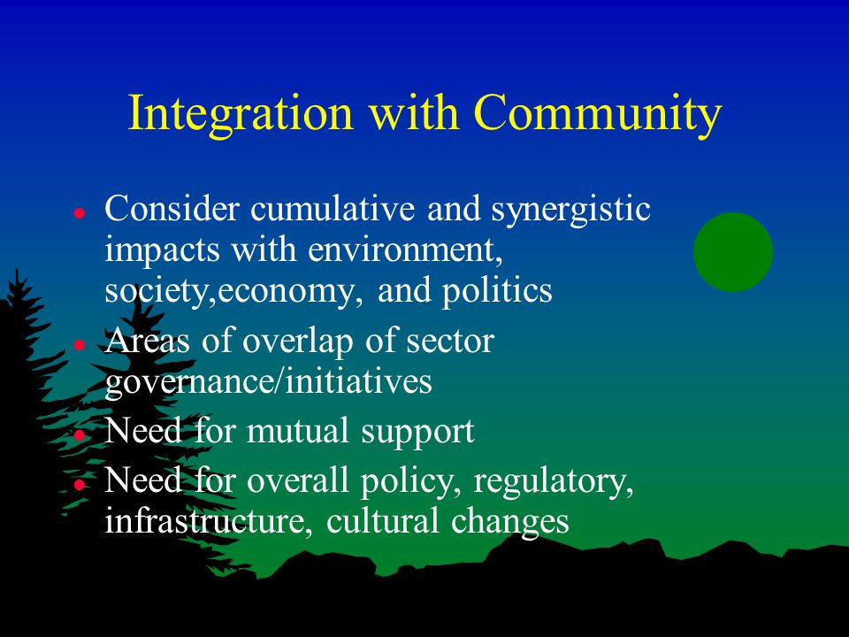 Integration with Community l Consider cumulative and synergistic impacts with environment, society,economy, and politics l Areas of overlap of sector governance/initiatives l Need for mutual support l Need for overall policy, regulatory, infrastructure, cultural changes