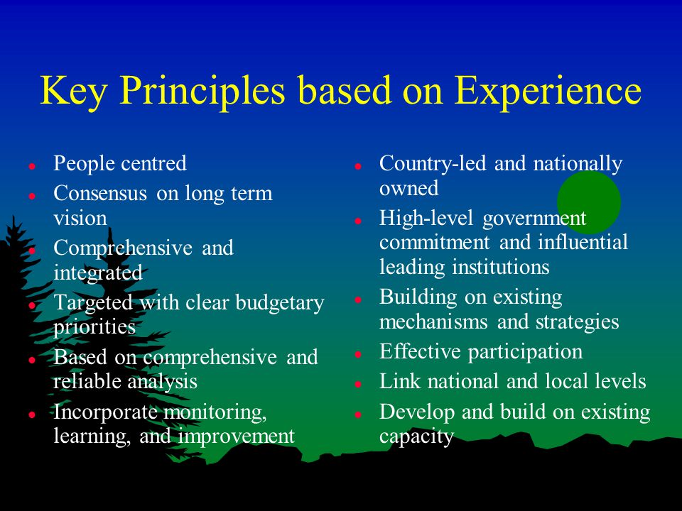 Key Principles based on Experience l People centred l Consensus on long term vision l Comprehensive and integrated l Targeted with clear budgetary priorities l Based on comprehensive and reliable analysis l Incorporate monitoring, learning, and improvement l Country-led and nationally owned l High-level government commitment and influential leading institutions l Building on existing mechanisms and strategies l Effective participation l Link national and local levels l Develop and build on existing capacity