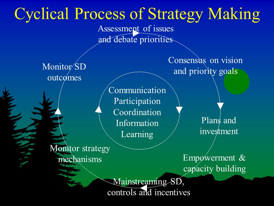 Cyclical Process of Strategy Making Communication Participation Coordination Information Learning Plans and investment Empowerment & capacity building Mainstreaming SD, controls and incentives Monitor strategy mechanisms Monitor SD outcomes Assessment of issues and debate priorities Consensus on vision and priority goals