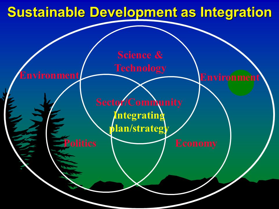 Sustainable Development as Integration Science & Technology Politics Sector/Community Integrating plan/strategy Environment Economy