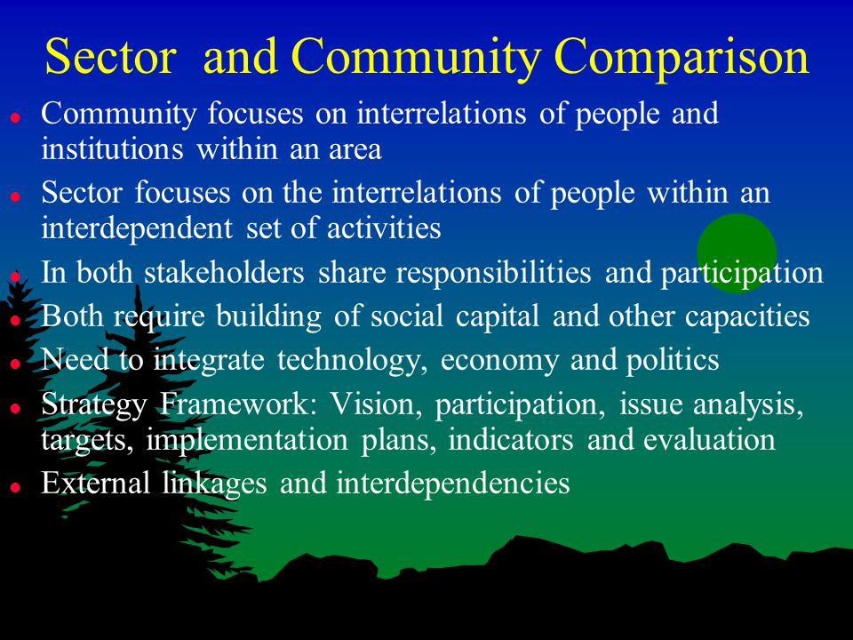 Sector and Community Comparison l Community focuses on interrelations of people and institutions within an area l Sector focuses on the interrelations of people within an interdependent set of activities l In both stakeholders share responsibilities and participation l Both require building of social capital and other capacities l Need to integrate technology, economy and politics l Strategy Framework: Vision, participation, issue analysis, targets, implementation plans, indicators and evaluation l External linkages and interdependencies