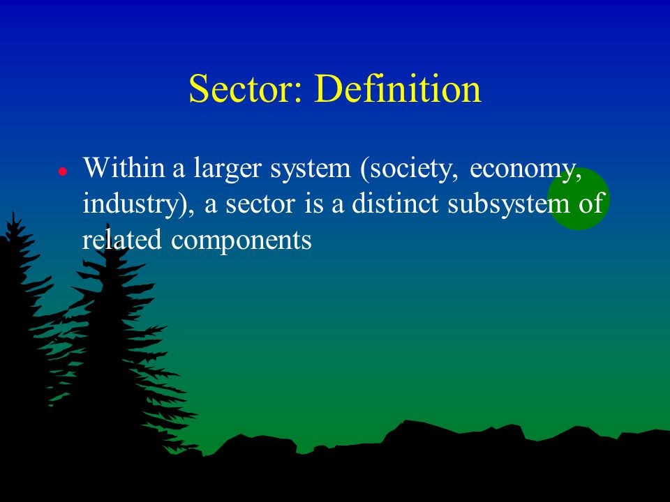 Sector: Definition l Within a larger system (society, economy, industry), a sector is a distinct subsystem of related components