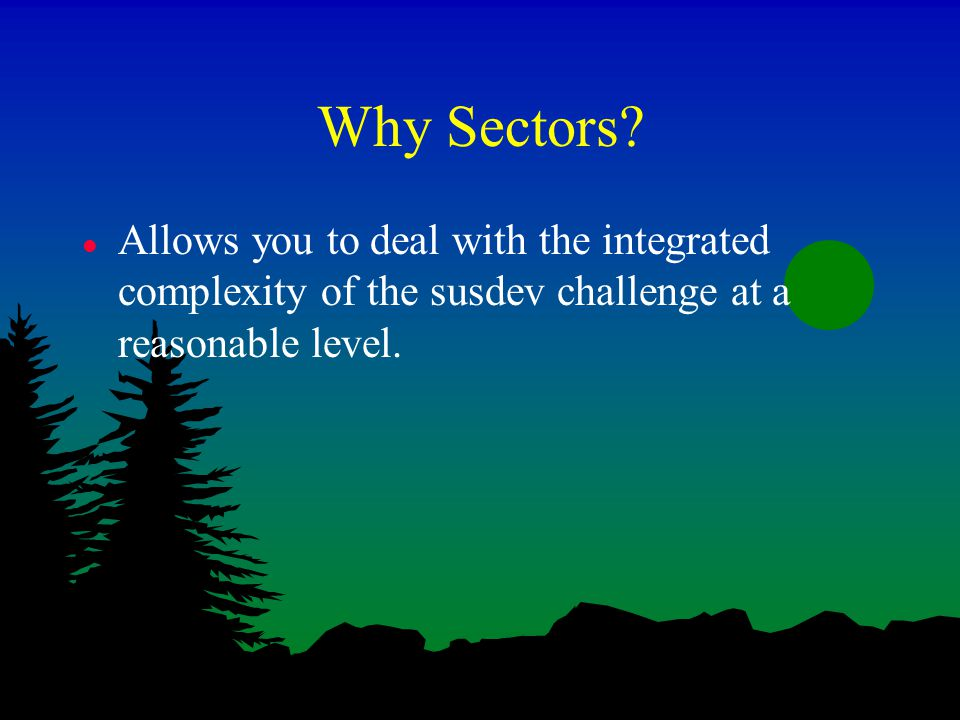 Why Sectors? l Allows you to deal with the integrated complexity of the susdev challenge at a reasonable level.