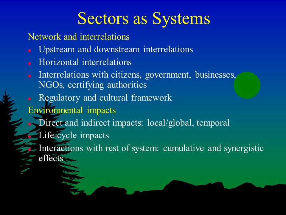 Sectors as Systems Network and interrelations l Upstream and downstream interrelations l Horizontal interrelations l Interrelations with citizens, government, businesses, NGOs, certifying authorities l Regulatory and cultural framework Environmental impacts l Direct and indirect impacts: local/global, temporal l Life-cycle impacts l Interactions with rest of system: cumulative and synergistic effects