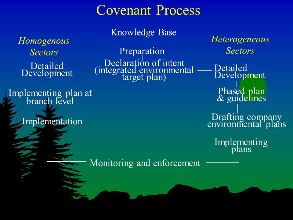 Covenant Process Knowledge Base Preparation Implementing plan at branch level Detailed Development Declaration of intent (integrated environmental target plan) Implementing plans Drafting company environmental plans Phased plan & guidelines Monitoring and enforcement Implementation Homogenous Sectors Heterogeneous Sectors