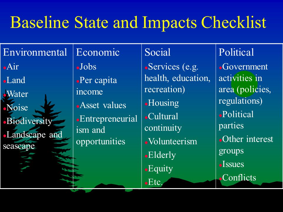 Baseline State and Impacts Checklist Environmental l Air l Land l Water l Noise l Biodiversity l Landscape and seascape Economic l Jobs l Per capita income l Asset values l Entrepreneurial ism and opportunities Social l Services (e.g.