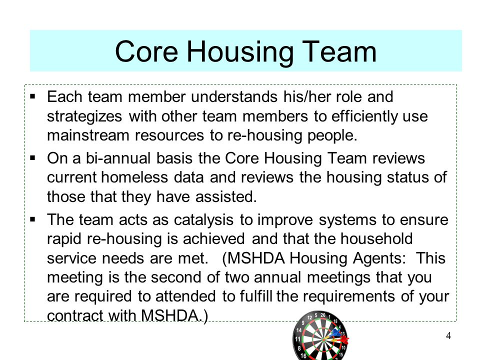  Each team member understands his/her role and strategizes with other team members to efficiently use mainstream resources to re-housing people.