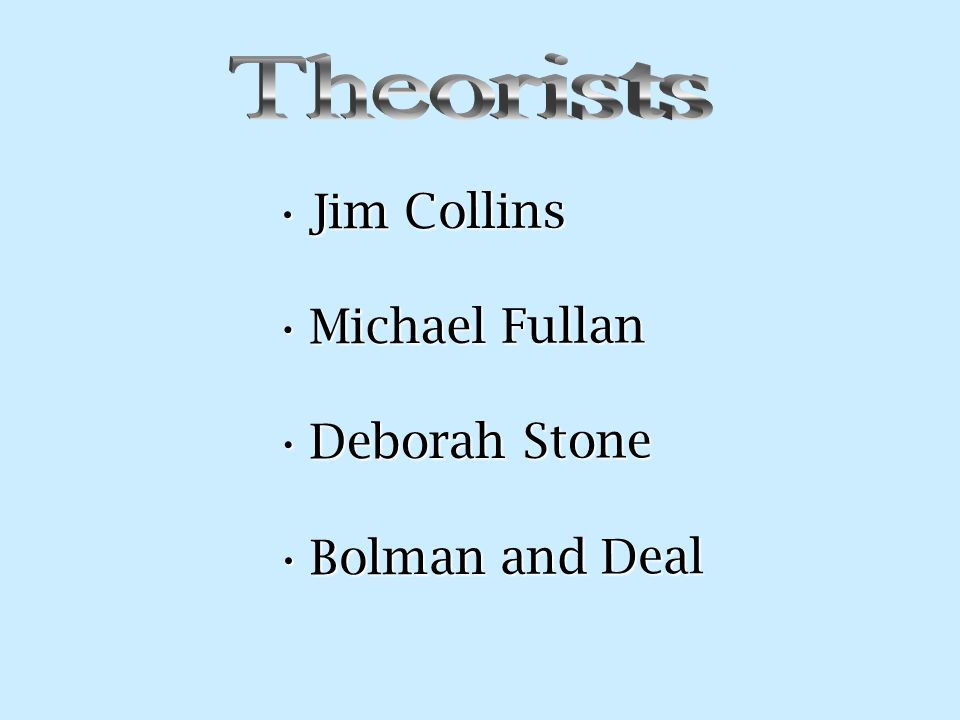 Jim CollinsJim Collins Michael FullanMichael Fullan Deborah StoneDeborah Stone Bolman and DealBolman and Deal
