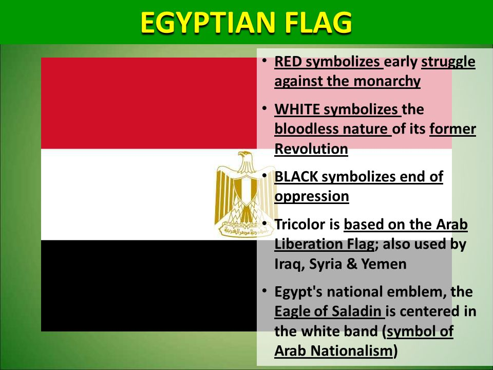 EGYPTIAN FLAG RED symbolizes early struggle against the monarchy WHITE symbolizes the bloodless nature of its former Revolution BLACK symbolizes end o