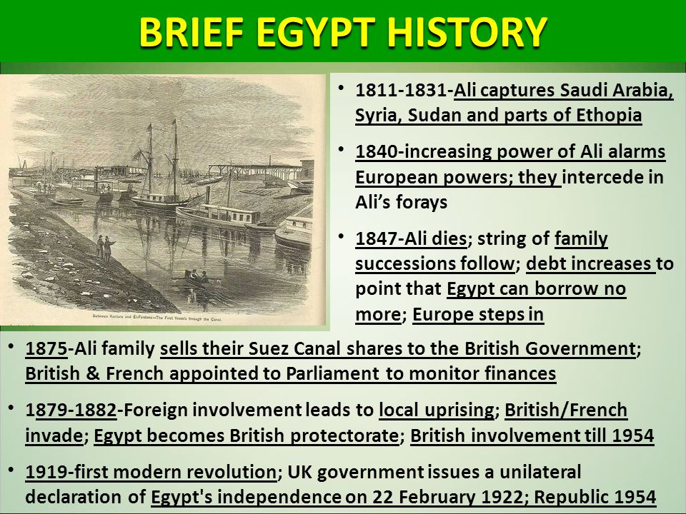 1875-Ali family sells their Suez Canal shares to the British Government; British & French appointed to Parliament to monitor finances 1879-1882-Foreig