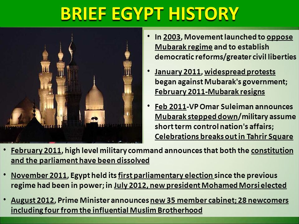 BRIEF EGYPT HISTORY In 2003, Movement launched to oppose Mubarak regime and to establish democratic reforms/greater civil liberties January 2011, wide